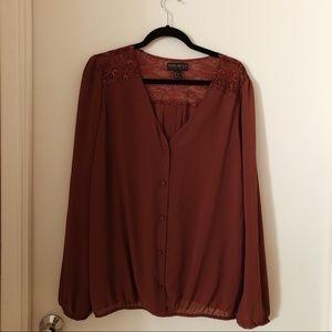 Lace V Neck Sheet Blouse - Plus Size!